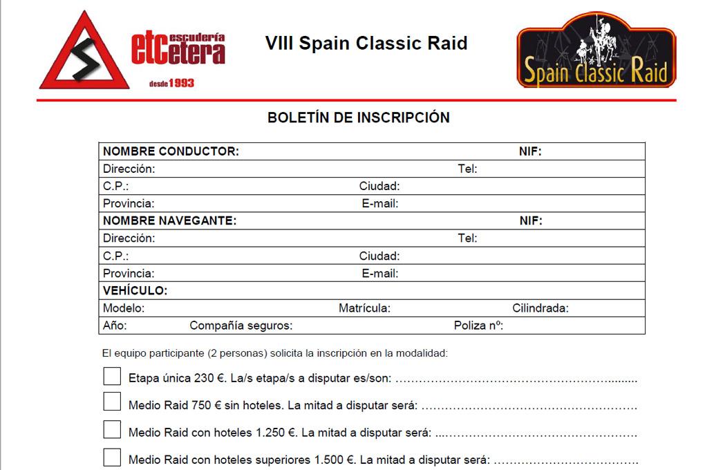 Inscripcion VIII Spain Classic Raid